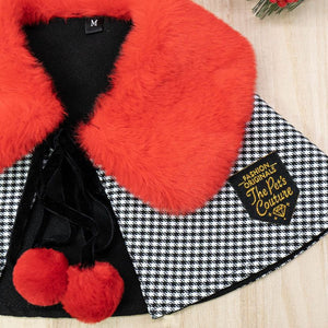 Red Faux Fur Collar Trench Coat in Black/White Checks - The Pet's Couture