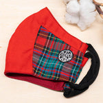 Twin In Style - Xmas Matching Red Mask in Red Green Tartan