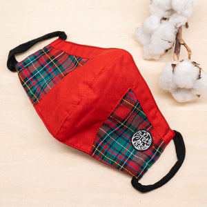 Twin In Style - Red Green Tartan Mask - The Pet's Couture