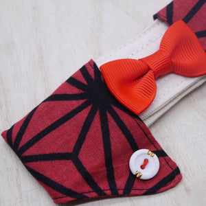 Dapper Collar - Rose Red with Ruby Bowtie - The Pet's Couture