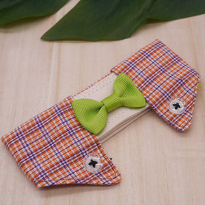 Dapper Collar - Magenta Plaids with Limegreen Bowtie - The Pet's Couture