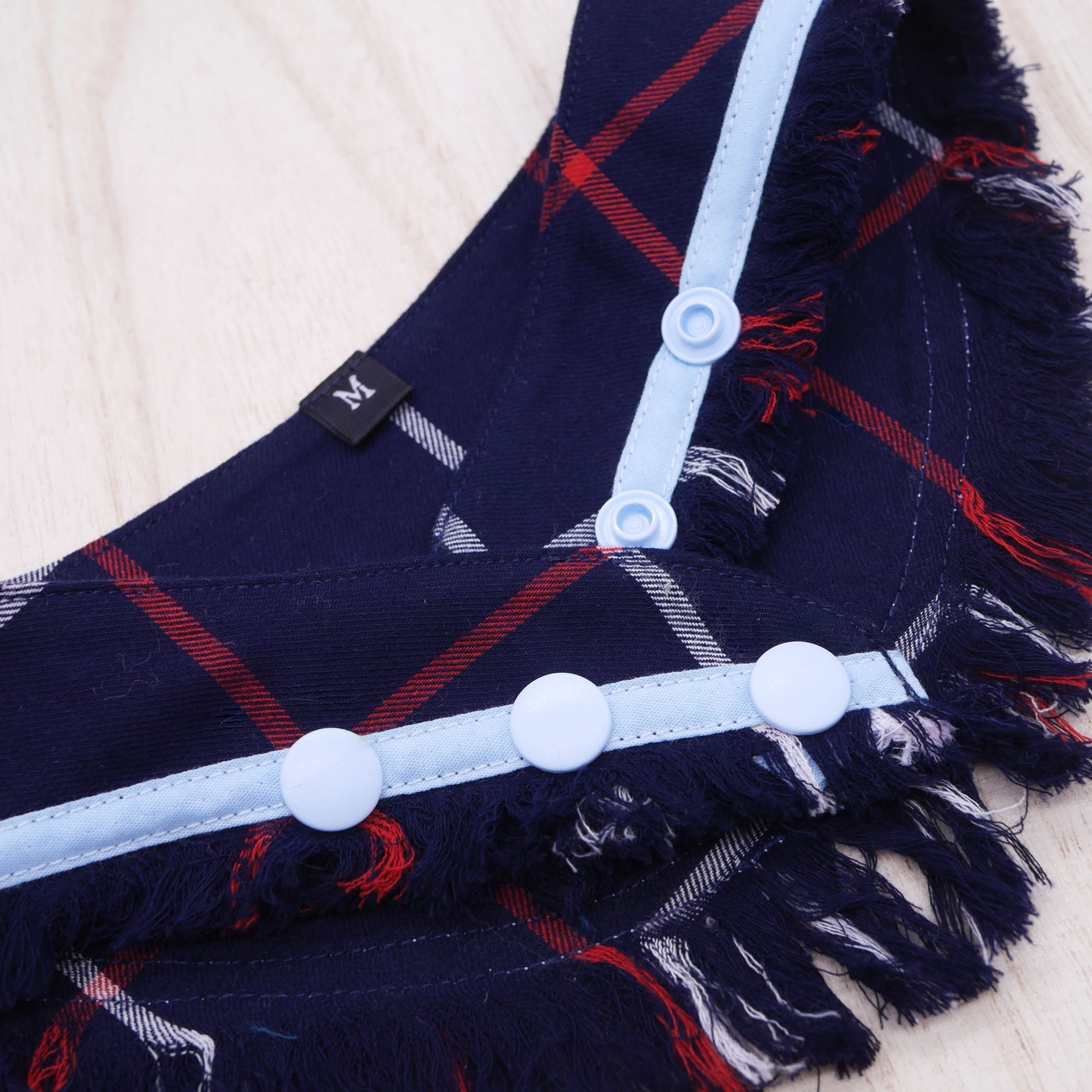 Frayed Bandanas - Duke Blue Flannel - The Pet's Couture