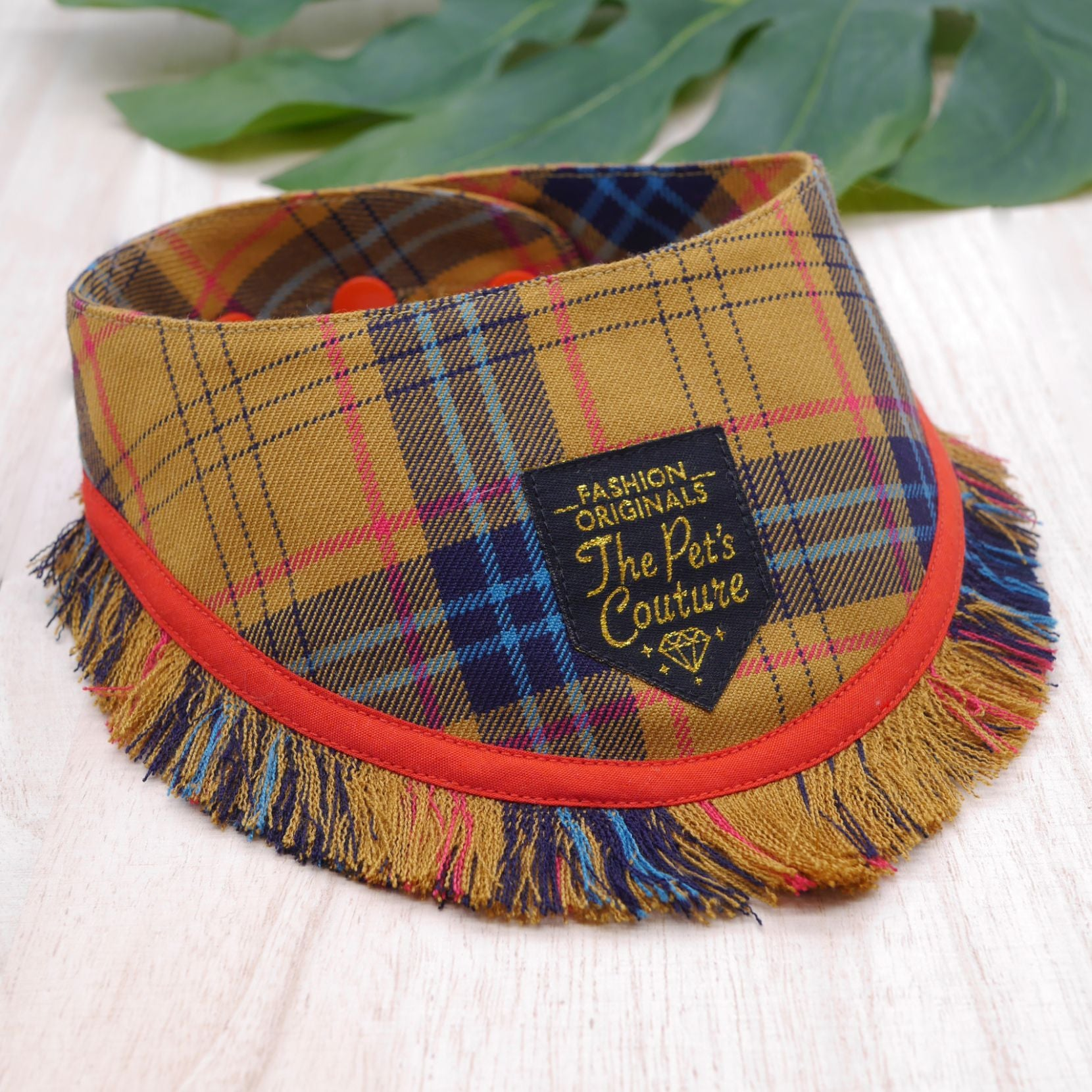 Frayed Bandanas - Mustard Tartan - The Pet's Couture