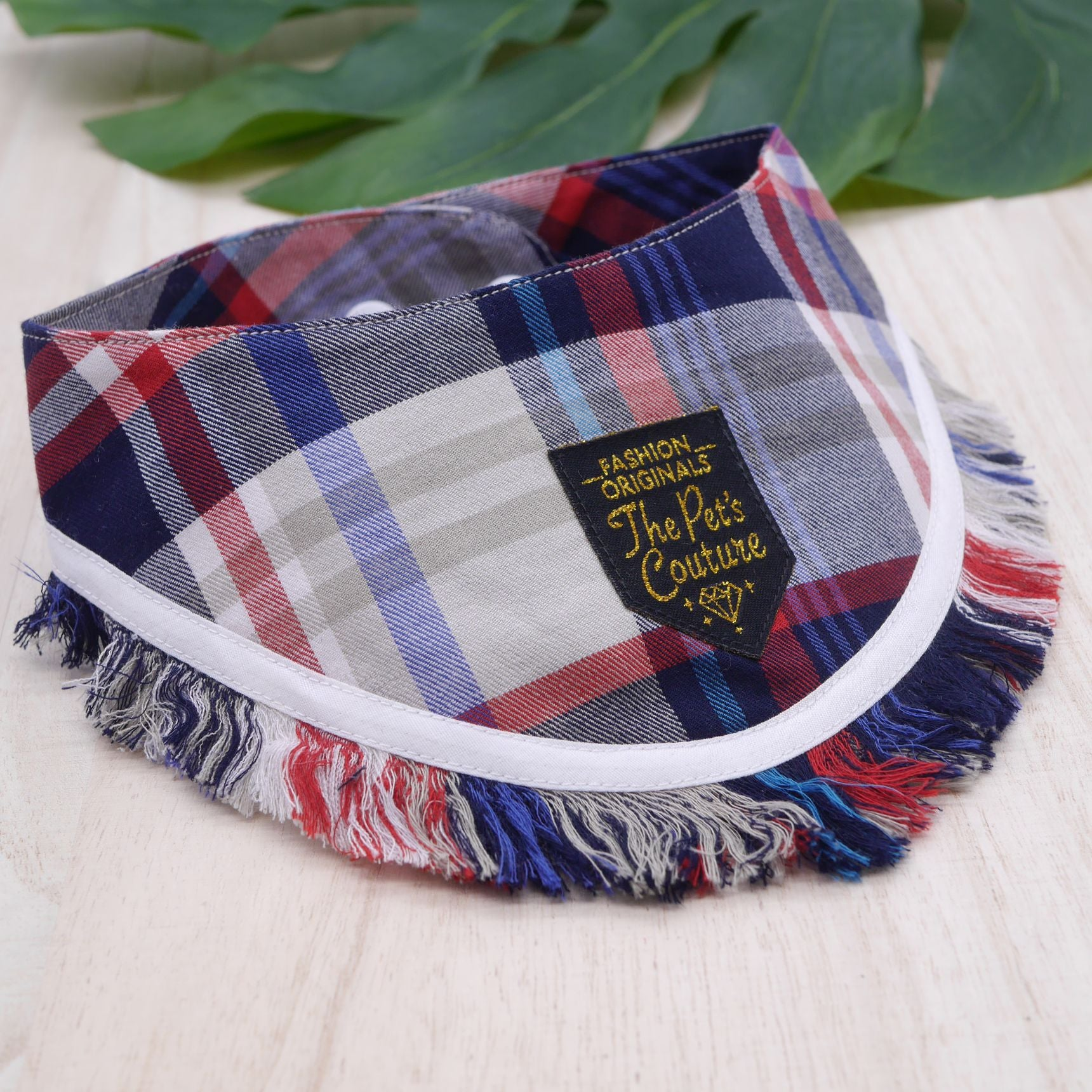 Frayed Bandanas - Red Blue Plaids - The Pet's Couture
