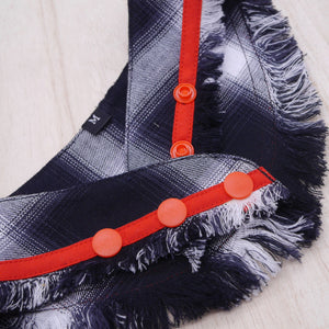 Frayed Bandanas - Classic Black Flannel - The Pet's Couture