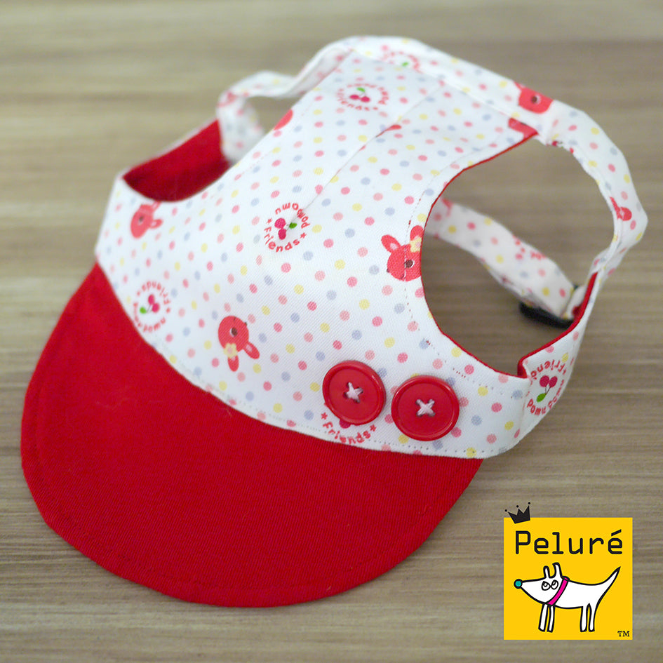 Walking Cap For Her - Rabbit Polka Dots with Maroon Buttons - The Pet's Couture
