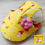 Walking Cap For Her - Little Red Riding Hood w/ Pink Flower Ornament - The Pet's Couture