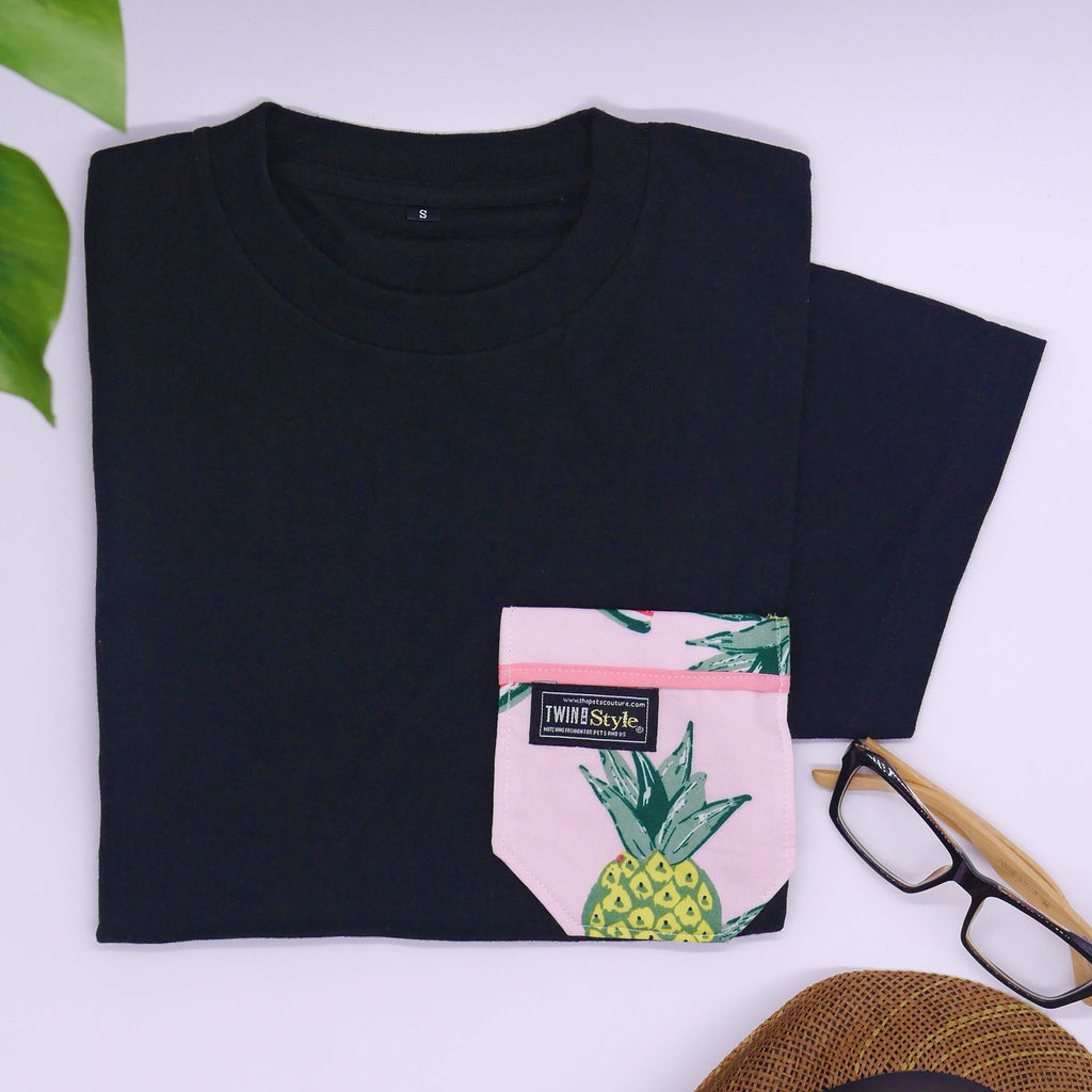 Tropical Fruits Matching Round Neck Tee by Twin In Style (Unisex) - The Pet's Couture