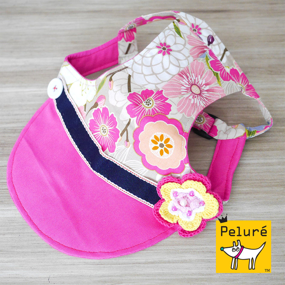 Walking Cap For Her - Oriental Petals with Embroidered Flower - The Pet's Couture