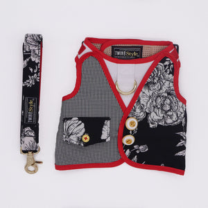 Twin In Style - Black Rose Harness + Leash (Unisex) - The Pet's Couture