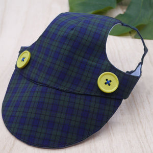Walking Caps For Him - Plaids in Dark Green w/ Yellow Buttons - The Pet's Couture