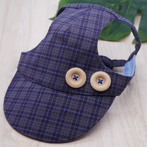 Walking Caps For Him - Plaids In Charcoal Grey with Wood Buttons - The Pet's Couture