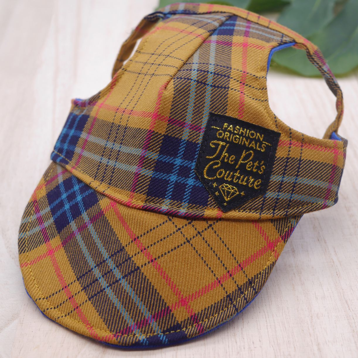 Walking Caps For Him - Mustard Tartan - The Pet's Couture