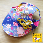 Walking Cap For Her - Oriental Indigo Blue with Ornament - The Pet's Couture