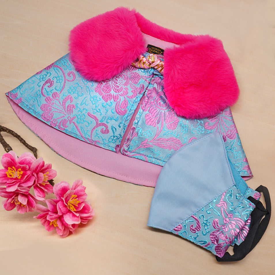 Spring Of Abundance in Baby Blue CNY Cape (Ready Stock) - The Pet's Couture