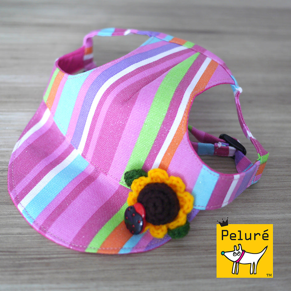 Walking Cap For Her - Multi Stripes w/ Sunflower Ornament - The Pet's Couture