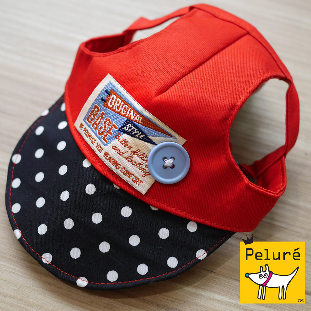 Walking Cap For Him - Baseball Badge in Scarlet - The Pet's Couture