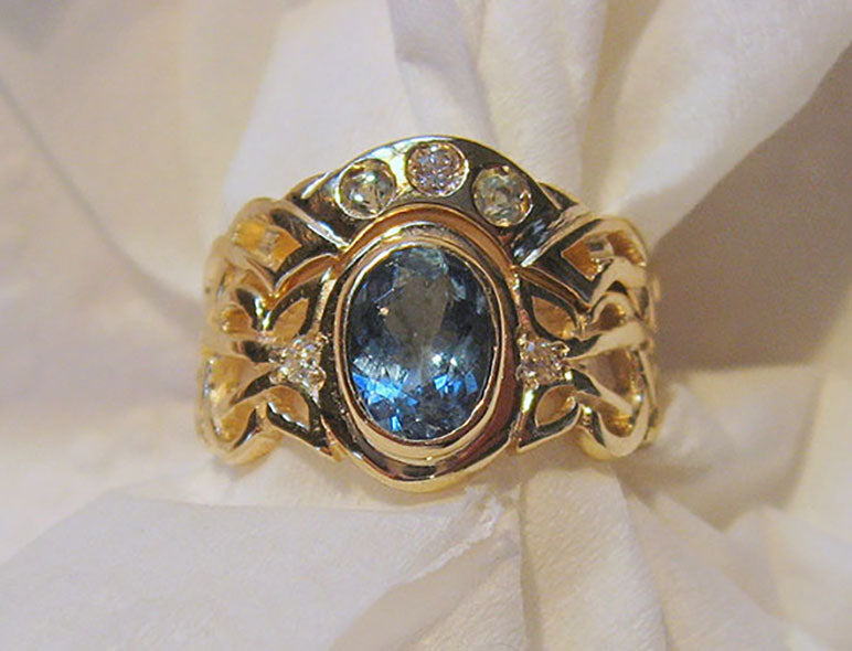 14K Gold Aquamarine