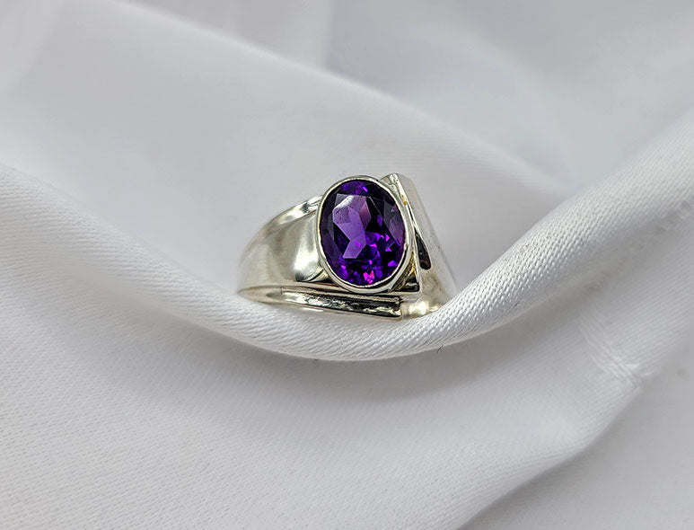 Amethyst Triangle Ring
