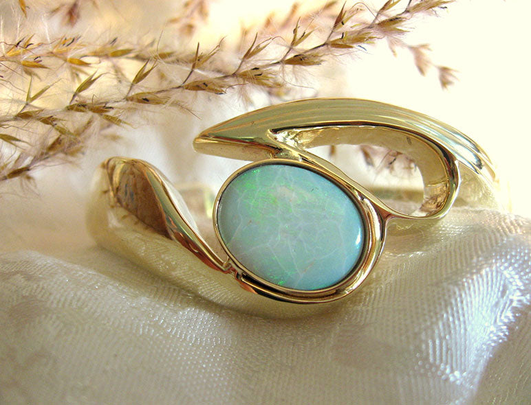 Custom Handcrafted 10K Gold Bracelet set with Fine Australian Opal