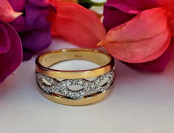 Custom Handcrafted Celtic 14K Gold and Diamond Ring