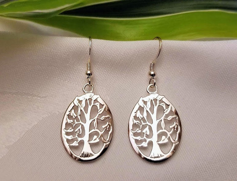 Silver Tree Earrings