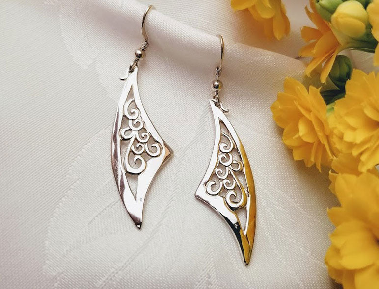 Triangular Swirl Earrings