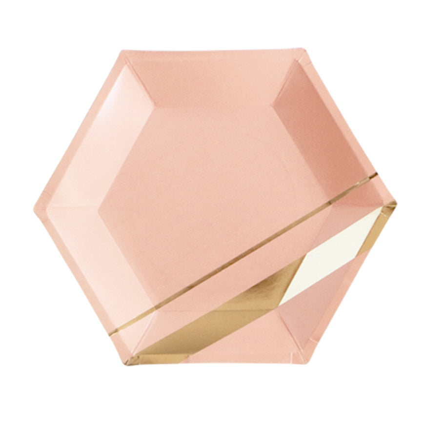 Blush & Gold Paper Plates Large