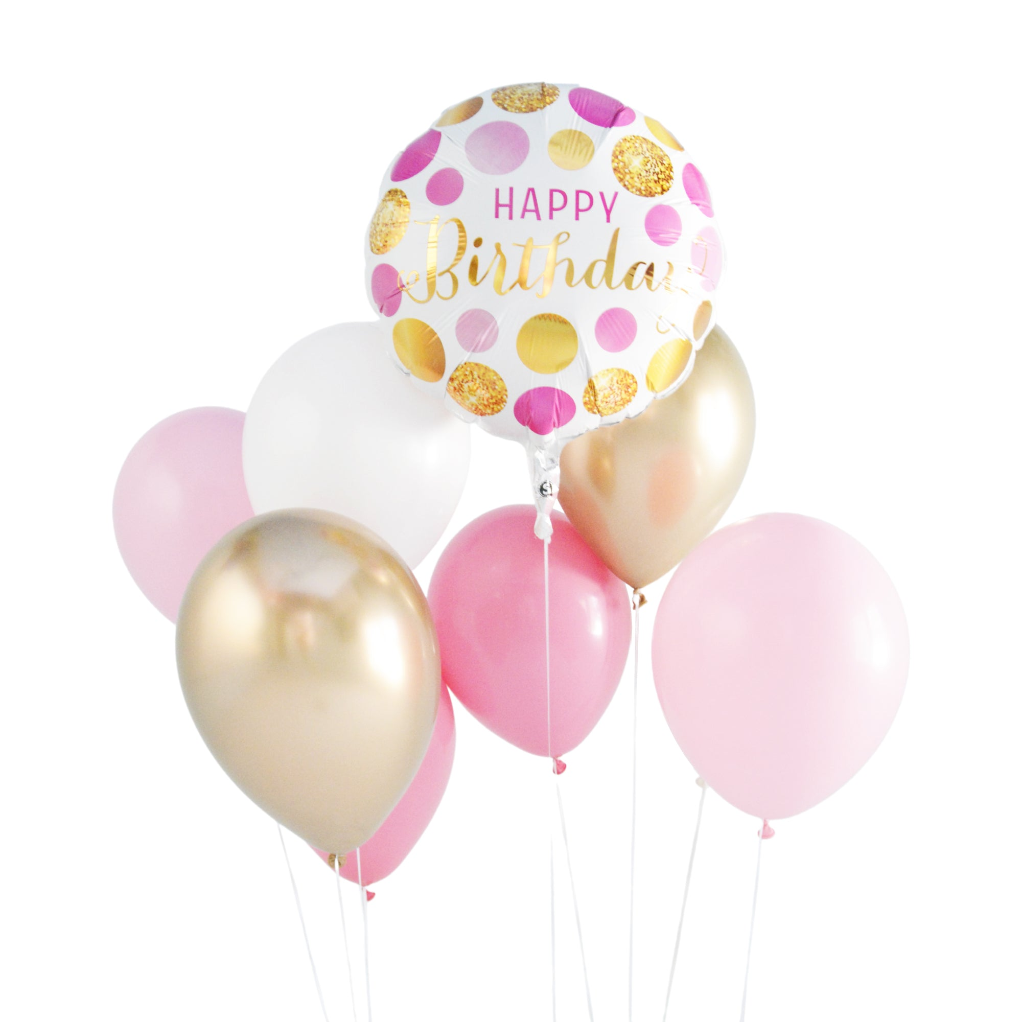 Pink and Gold Birthday Balloon Bouquet