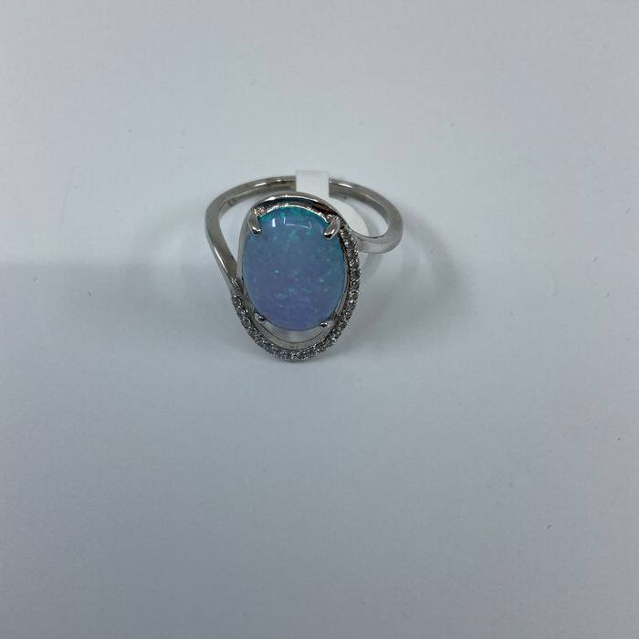 Sterling Silver ring with Opal and CZ