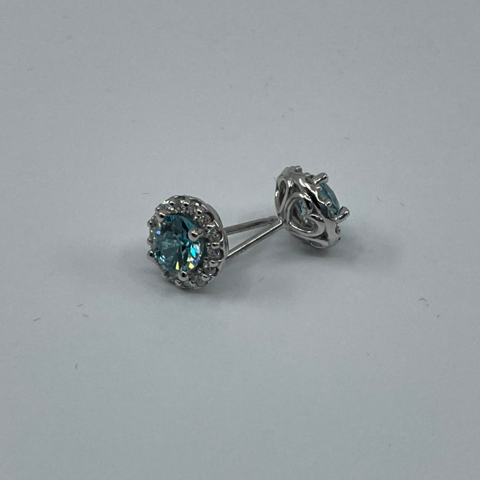 14kw   Blue Zircon and diamond halo earrings