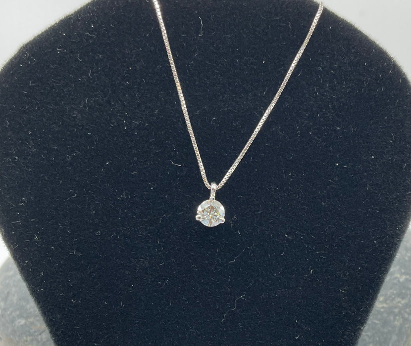 14kt White gold .36ctw J/K SI2 Martini set round brilliant diamond pendant