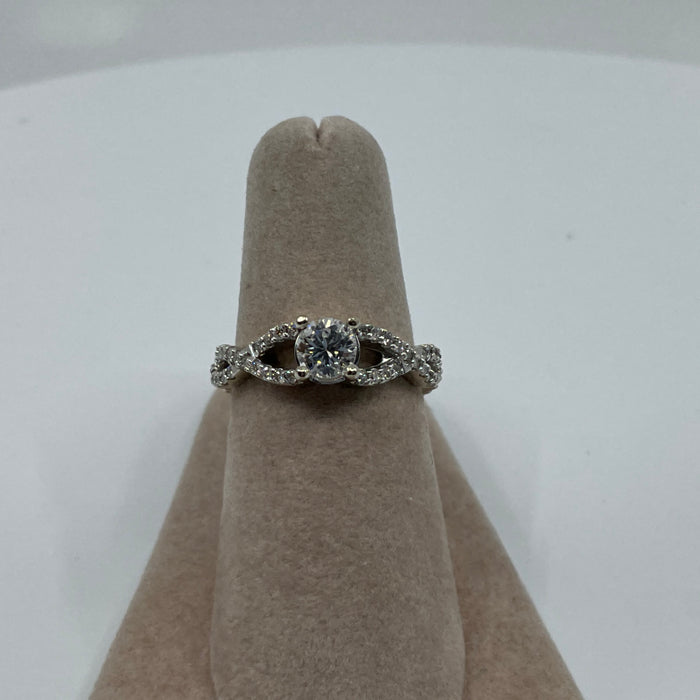 14k White gold weave Diamond Engagement Ring