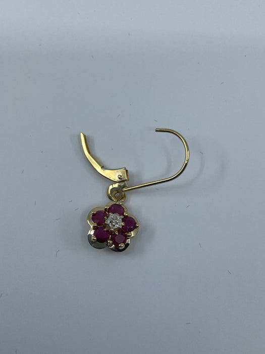 14kt Yellow gold Ruby and  diamond lever back earrings