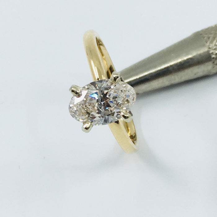 1.02ct J SI2 Lab Grown Oval diamond solitaire
