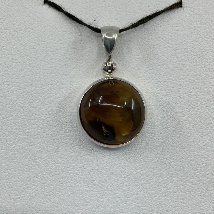 Sterling silver Round Sumatra Amber Pendant