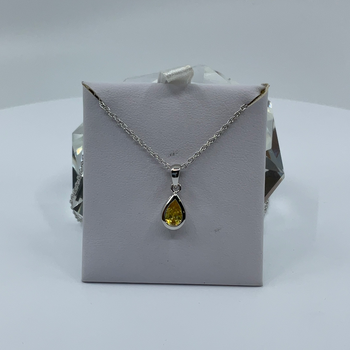 Rhodium finish November birthstone teardrop CZ pendant