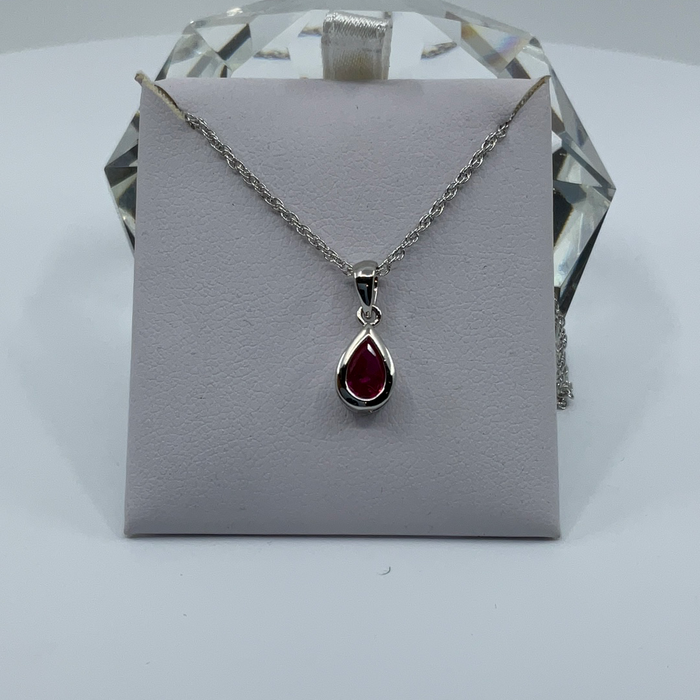 Rhodium finish July birthstone teardrop CZ pendant