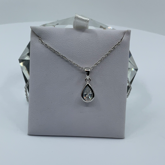Rhodium finish April birthstone teardrop CZ pendant