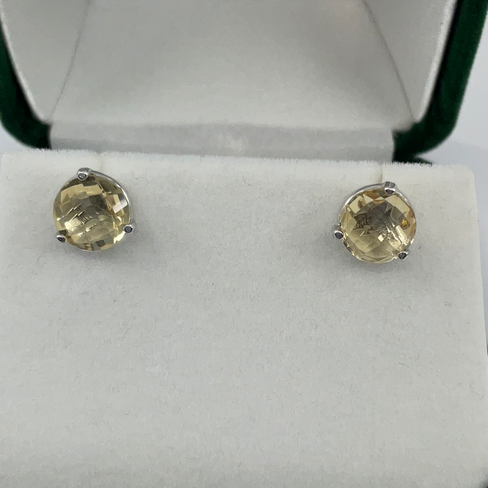 Sterling Silver 8mm Round Citrine Stud Earrings