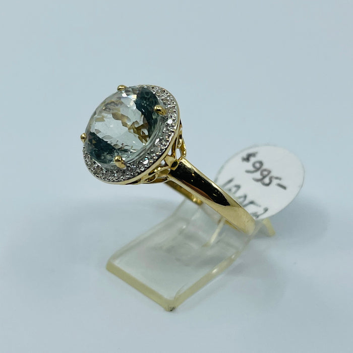 14kt Yellow Gold Green Amethyst and Diamond Ring