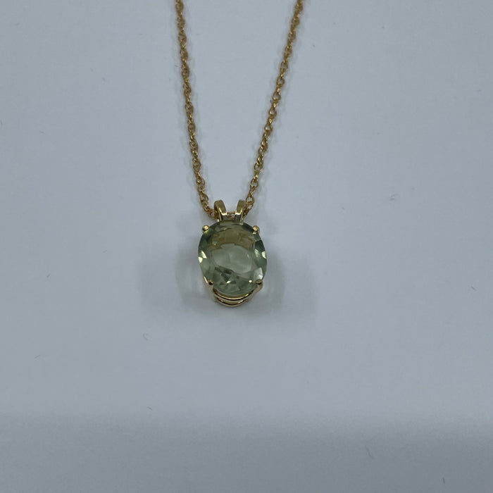 14KT Yellow Gold Tourmaline Lime Oval Pendant