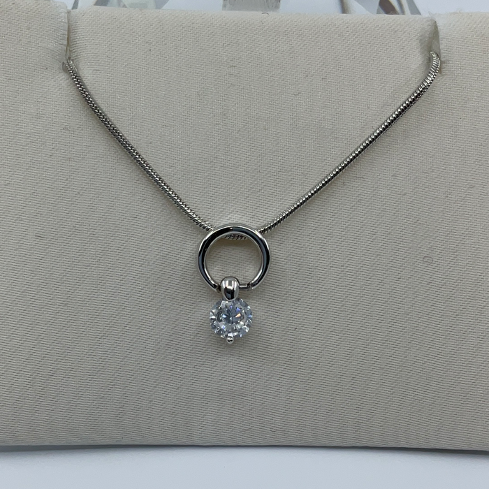 Rhodium Finish Round Pendant with Hanging Round Cubic Zirconia