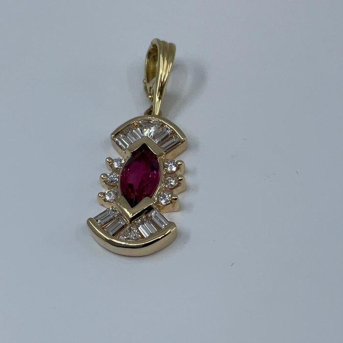 14kt Yellow Gold marquise shaped 1.75ct Pink Tourmaline and diamond pendant slide