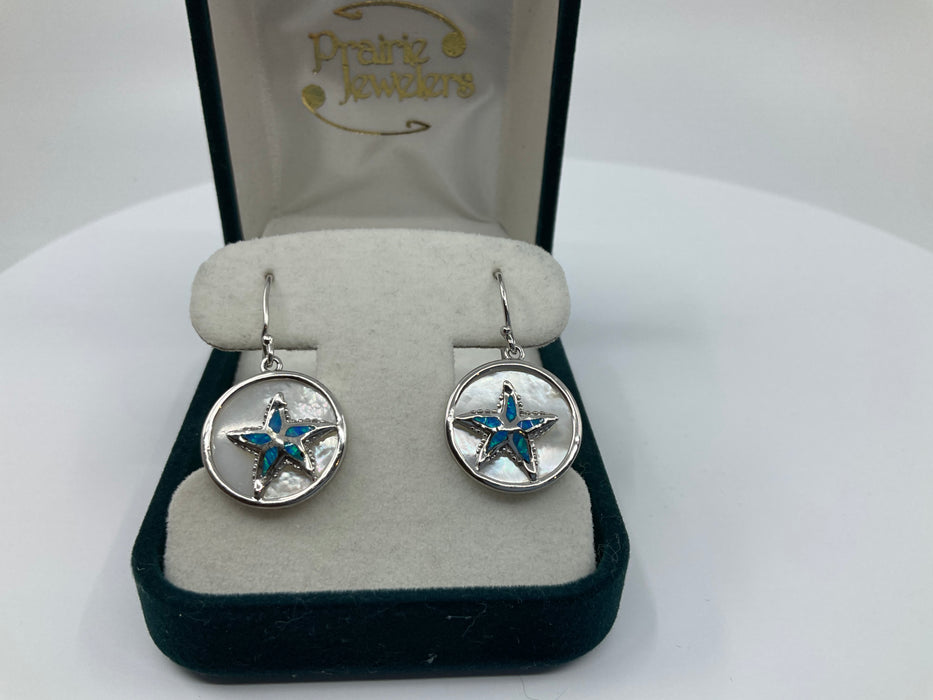 Sterling silver round mother of pearl with blue inlay opal starfish earrings