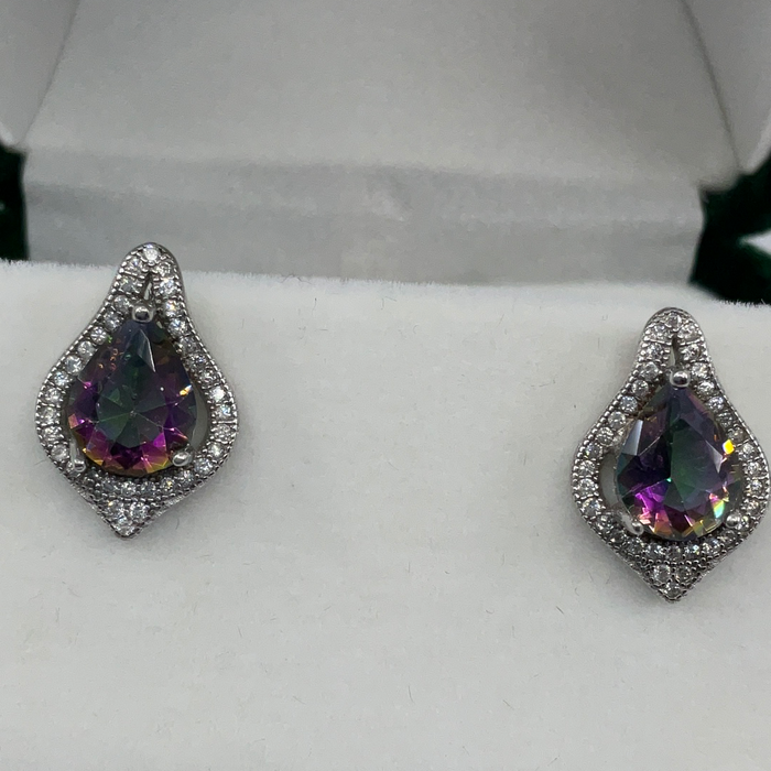 Sterling Silver Large Teardrop Simulated Rainbow with CZ Border Earrings