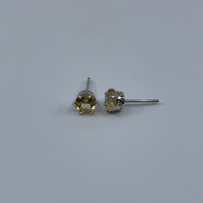 Sterling Silver Citrine Six-Prong Round 6MM Gemstone Stud Earrings