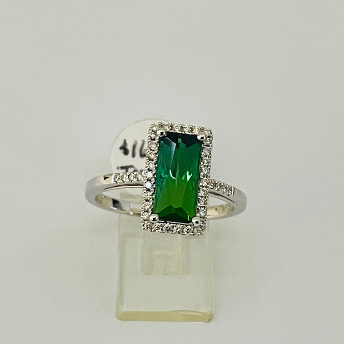 14kt White Gold 1.68ct Rectangular Tourmaline and Diamond Ring