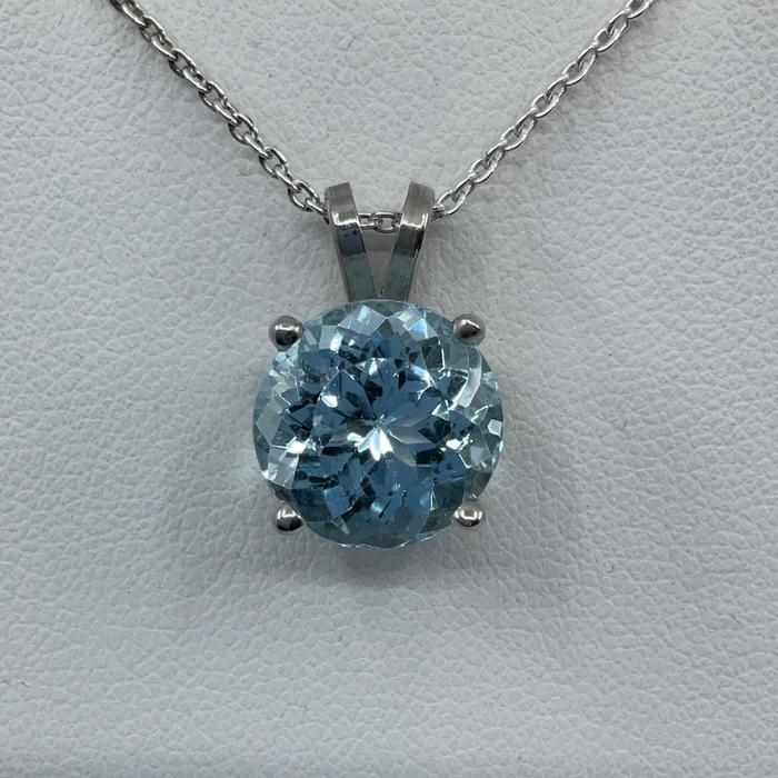 14kt White Gold 8.28ct round Blue Zircon pendant