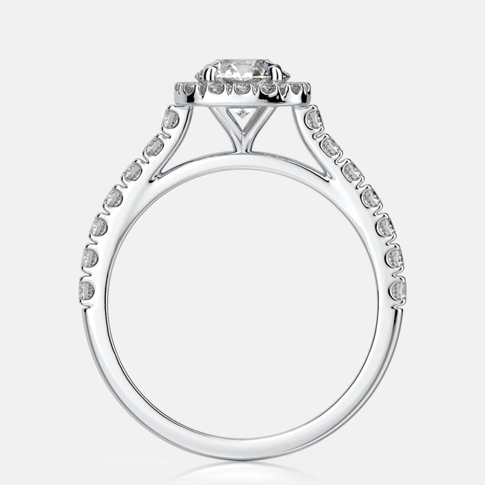 Cushion shaped halo with straight diamond shank mounting 29 diamonds @ .42ctw